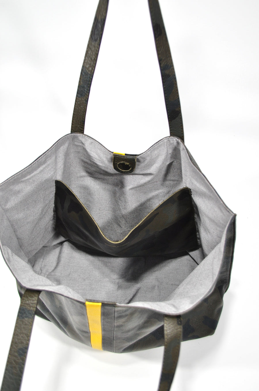 Edge Camo Leather Tote w Yellow and Black - Positive Elements