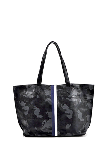 Striped Camo Leather Tote- Navy With White/Navy - Positive Elements