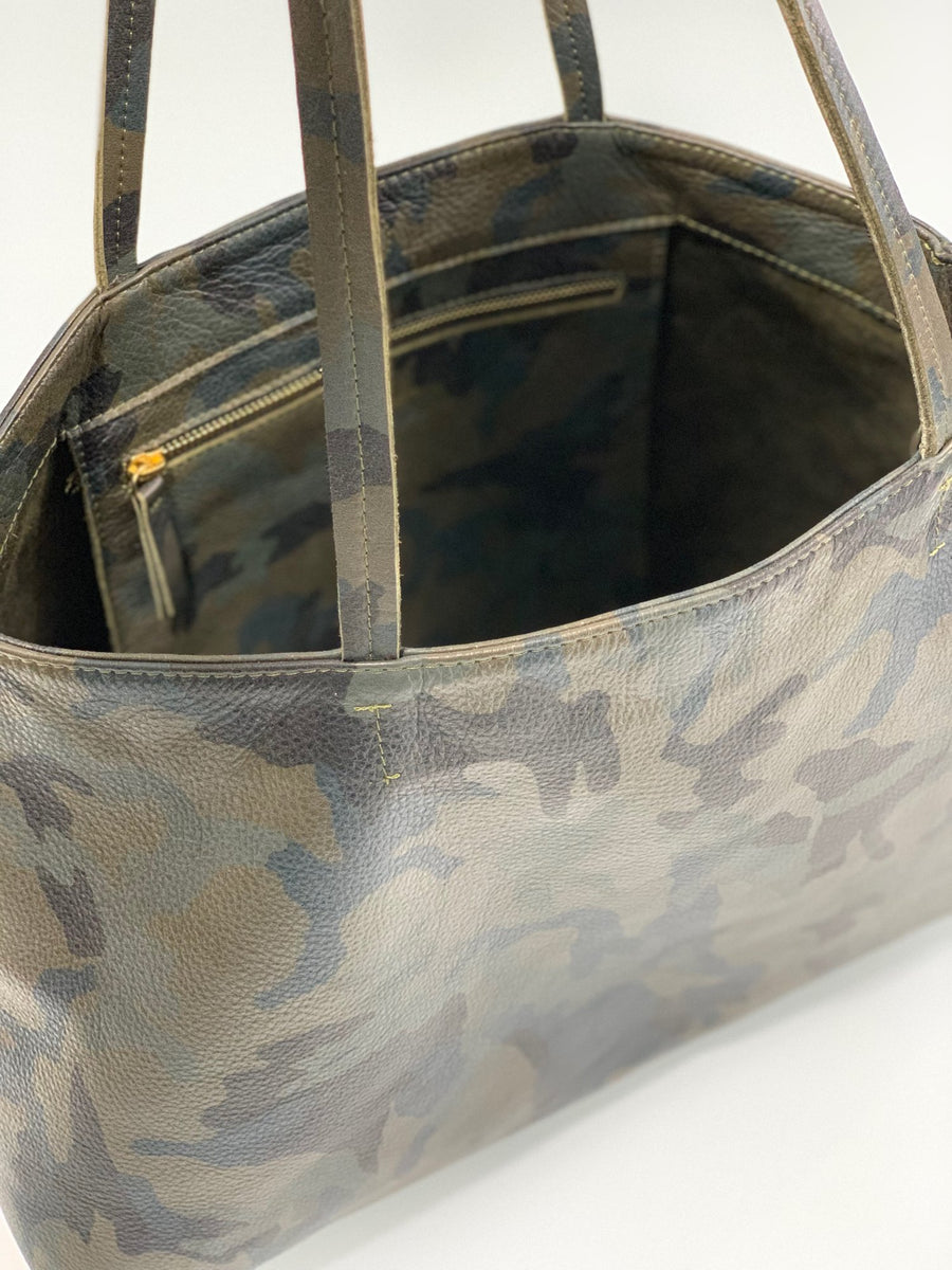 Statements Leather Tote Camouflage Green - Positive Elements