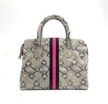 After Hour Zippered Satchel Natural Snake with Hot Pink/Black