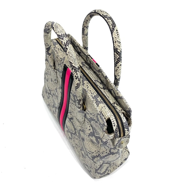 After Hour Zippered Satchel Natural Snake with Hot Pink/Black - Positive Elements
