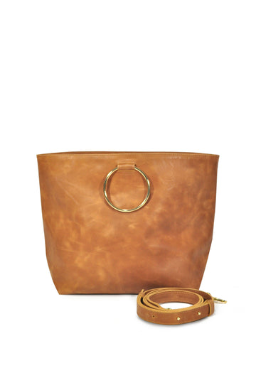 Audrey Leather Tote - Tan - Positive Elements