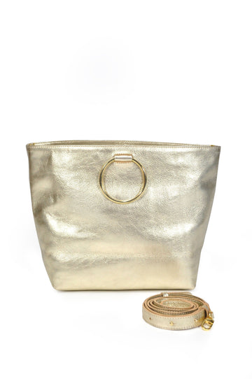 Audrey Leather Tote - Gold - Positive Elements