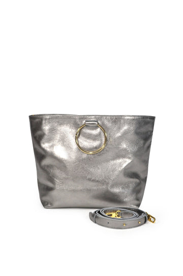 Audrey Leather Tote - Pewter - Positive Elements