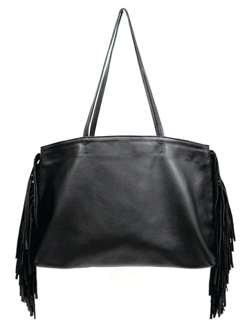 Leather Fringe Tote - Black - Positive Elements
