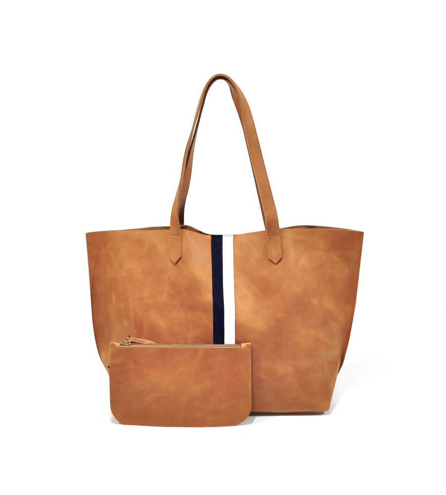 Edge Leather Tote Tan with Black/White - Positive Elements