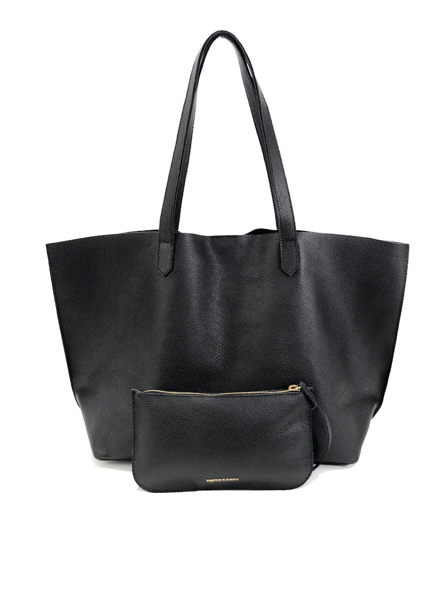 Edge Leather Tote  Black - Positive Elements
