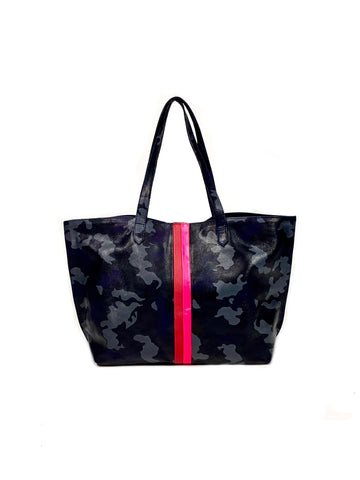 Edge Leather Tote Navy Camouflage with Hot Pink/Red - Positive Elements