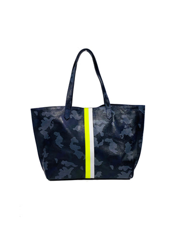 Edge Leather Tote Navy Camouflage With Hot Yellow/White - Positive Elements