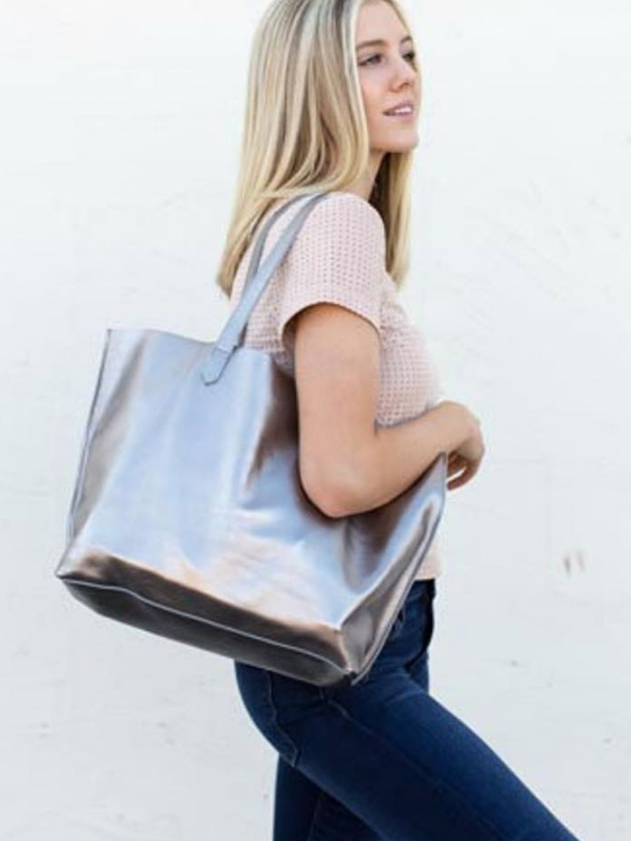 Edge Leather Tote Pewter - Positive Elements