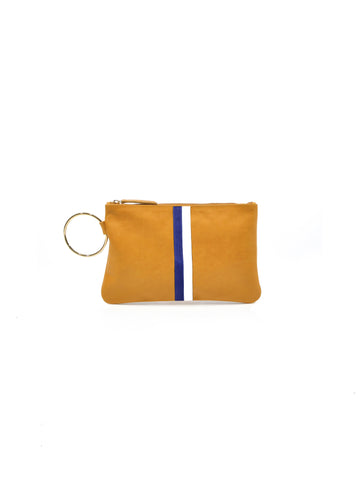Gavi Leather Clutch-Tan with Navy/White - Positive Elements