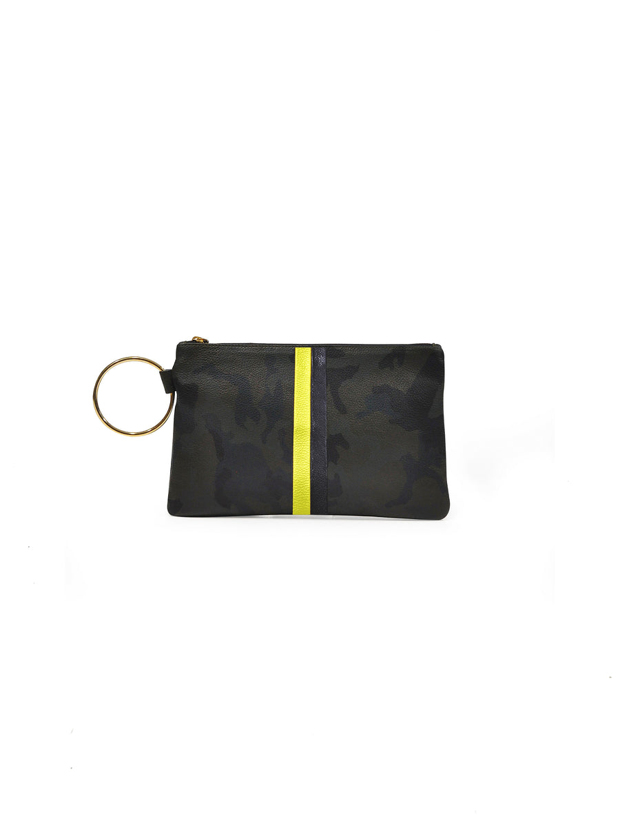 Gavi Leather Clutch- Green Camouflage with Yellow/Black - Positive Elements