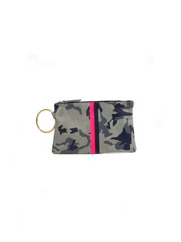 Gavi Leather Clutch- Gray Camouflage with Pink/Black - Positive Elements