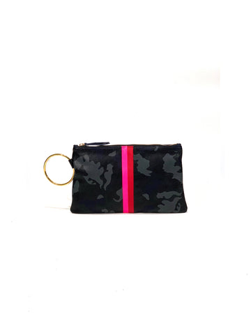 Gavi Leather Clutch- Camouflage with Hot Pink/ Red - Positive Elements