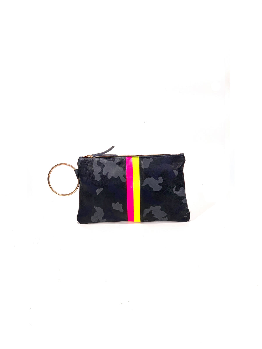 Gavi Leather Clutch- Navy Camouflage with Hot Pink/ Hot Yellow - Positive Elements
