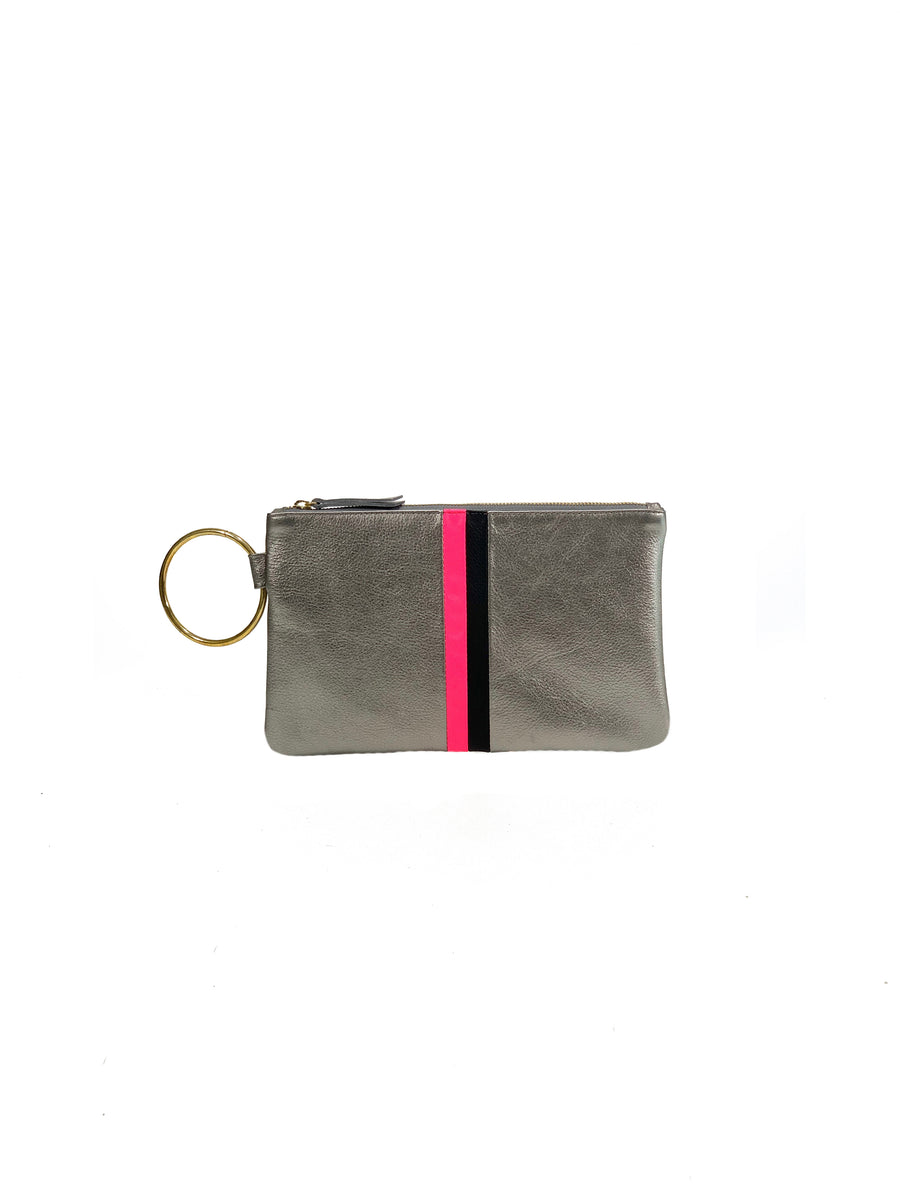 Gavi Leather Clutch-Pewter with Hot Pink/Black - Positive Elements