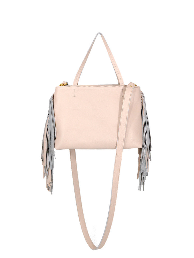 Mini Fringe Leather Tote Brown - Positive Elements