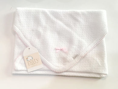 Paty Swaddle Blanket-White w/Pink Trim and Pink Bow