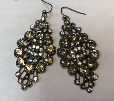 Diana Warner-Molly Earrings Antique Silver w/Golden Shadow Swarovski