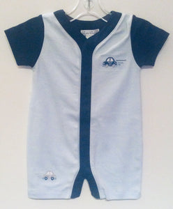 Kissy Kissy-Baby Boys Short Playsuit-Fast Lane Stripe