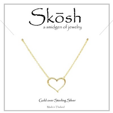"Skosh Open Heart Necklace-Gold over Sterling Silver  16"" + 1"""