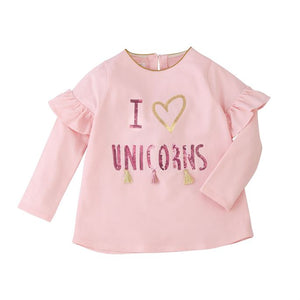Mud Pie-I Heart Unicorns Sequin Tassel Pants Set-Pink