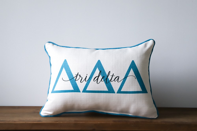 Delta Delta Delta-Large Letters Overlap Pillow w/Piping