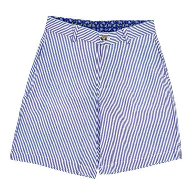 Shorts-Blue White Seersucker