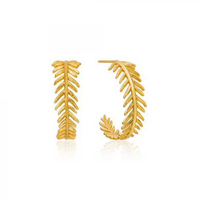 Palm Hoop Earrings-Gold