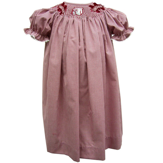 Vive La Fete-MSU Girls S/S Maroon Small Check Smocked Embroidered Bishop Dress w/M State