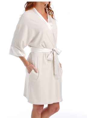 PJ Harlow-Shala Knit Robe with Pockets and Satin Trim-Egg Nog