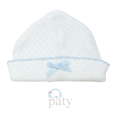 Paty Sailor Cap-White w/Blue Trim and Bow