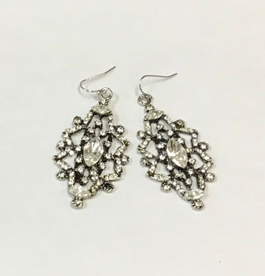 Diana Warner-Tara Earrings-Antique Silver w/Clear Swarosvki Crystals