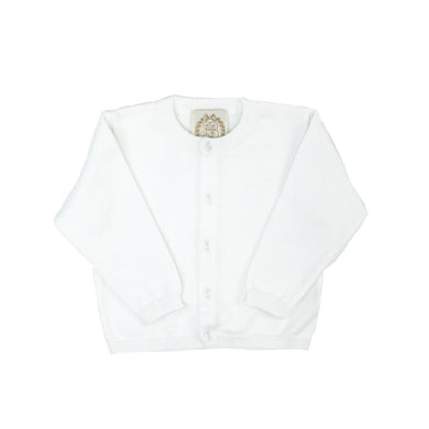 TBBC-Cambridge Cardigan (Unisex) Worth Avenue White with Ivory Pearlized Buttons