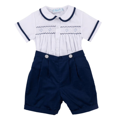Feltman-Navy Smocked Bobby Suit