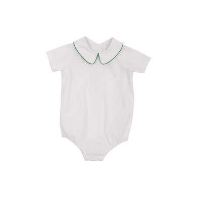 TBBC-Peter Pan Collar Shirt(S/S Woven)White with Kiawah Kelly Green Piping