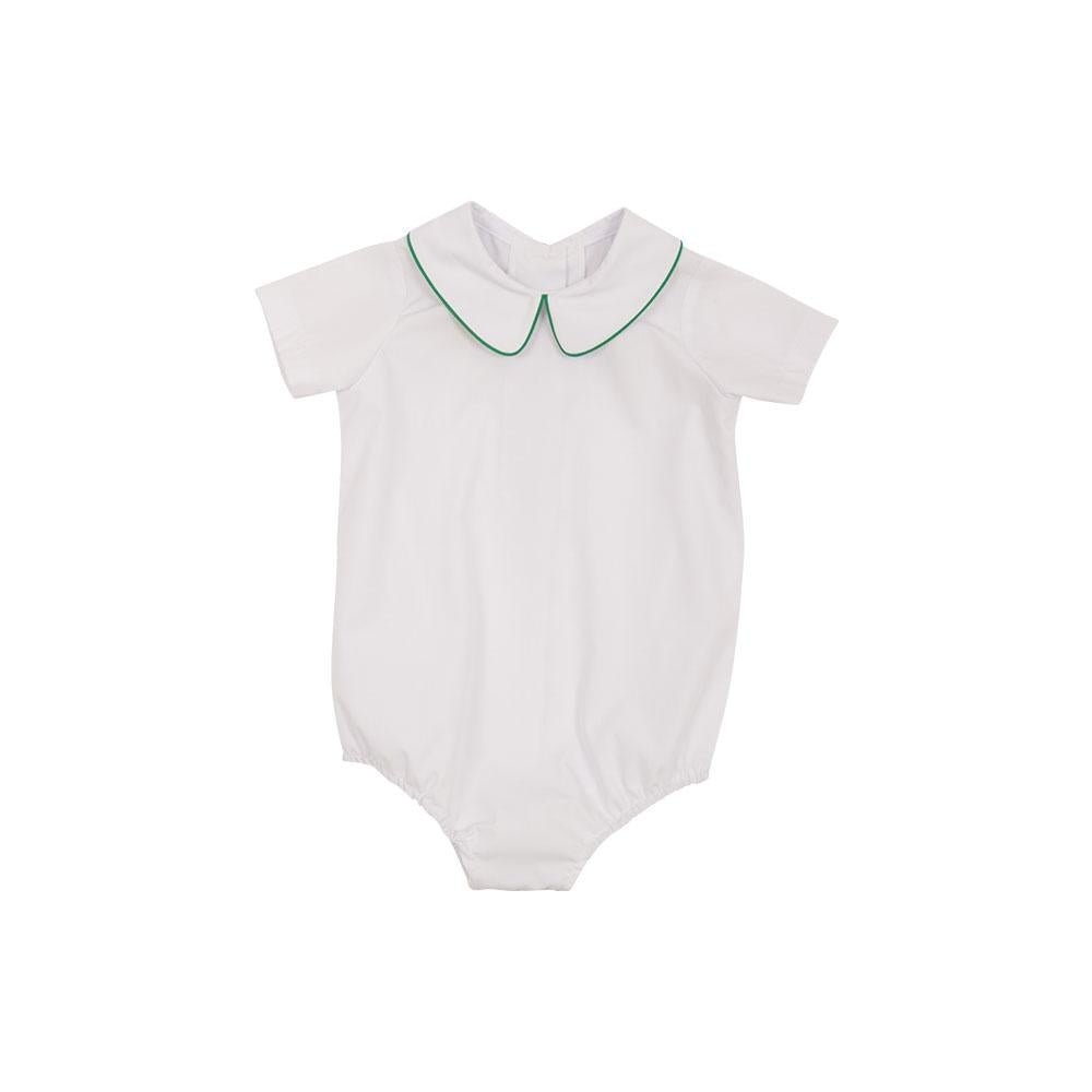 The Beaufort Bonnet Company-Peter Pan Collar Shirt(S/S Woven)White with Kiawah Kelly Green Piping