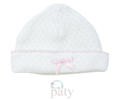 Paty Sailor Cap-White w/Pink Trim and Bow