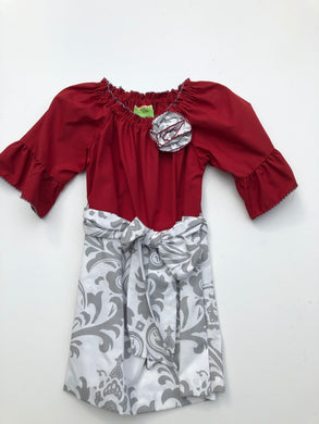 Le Za Me-3/4 Sleeve Burgundy w/Grey Pattern Belted Dress