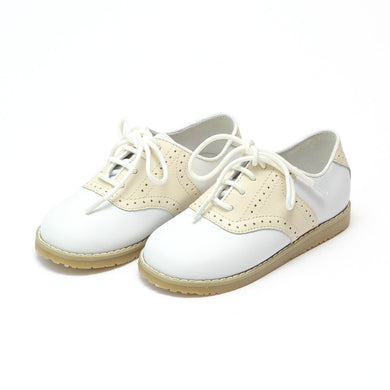 White/Beige Leather Saddle Oxford