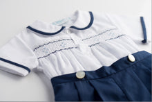 Load image into Gallery viewer, Feltman-Navy Smocked Bobby Suit