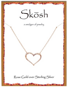 "Skosh Rose Gold Open Heart Necklace, 16"" + 1"""