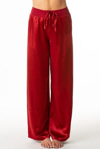 PJ Harlow-Jolie Satin Lounge Pants-Red