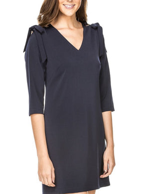 Navy dress w/grommet ties at shoulder