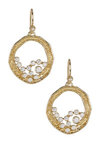Emma Cluster Small Earrings Gold White CZ…