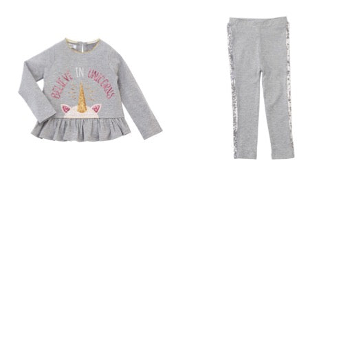 Mud Pie-Believe in Unicorns Sequins Ruffle Tee Pants Set-Grey