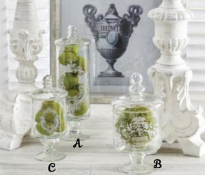 Lidded Glass Jars With Decorative Etching (3 Sizes Available)