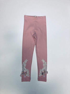 Mae Li Rose-Peach Leggings with Lace and Bows