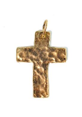 Hammered Cross Charm-Antique Gold