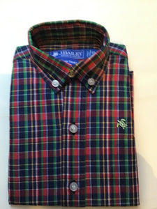 J Bailey-L/S Roscoe Button Down Shirt-Red & Green Plaid